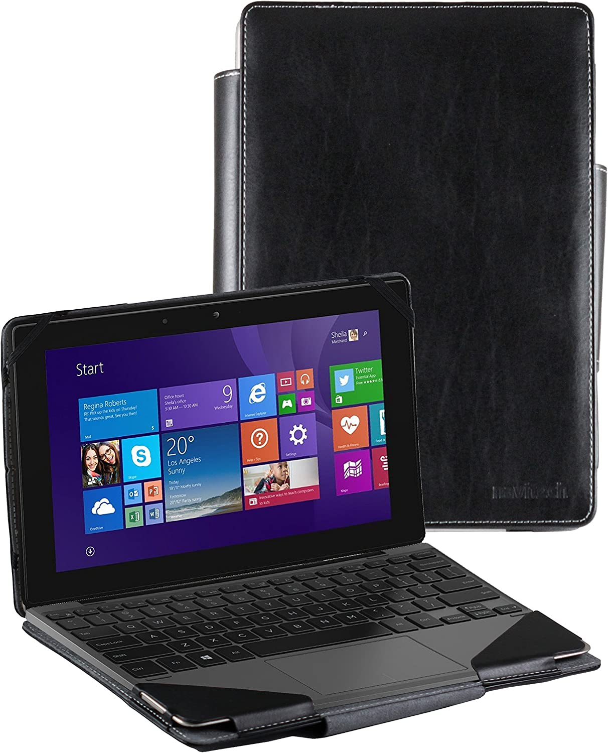 Navitech Black Faux Leather Folio Case Cover Sleeve Compatible with The Dell Venue Pro 10 2016