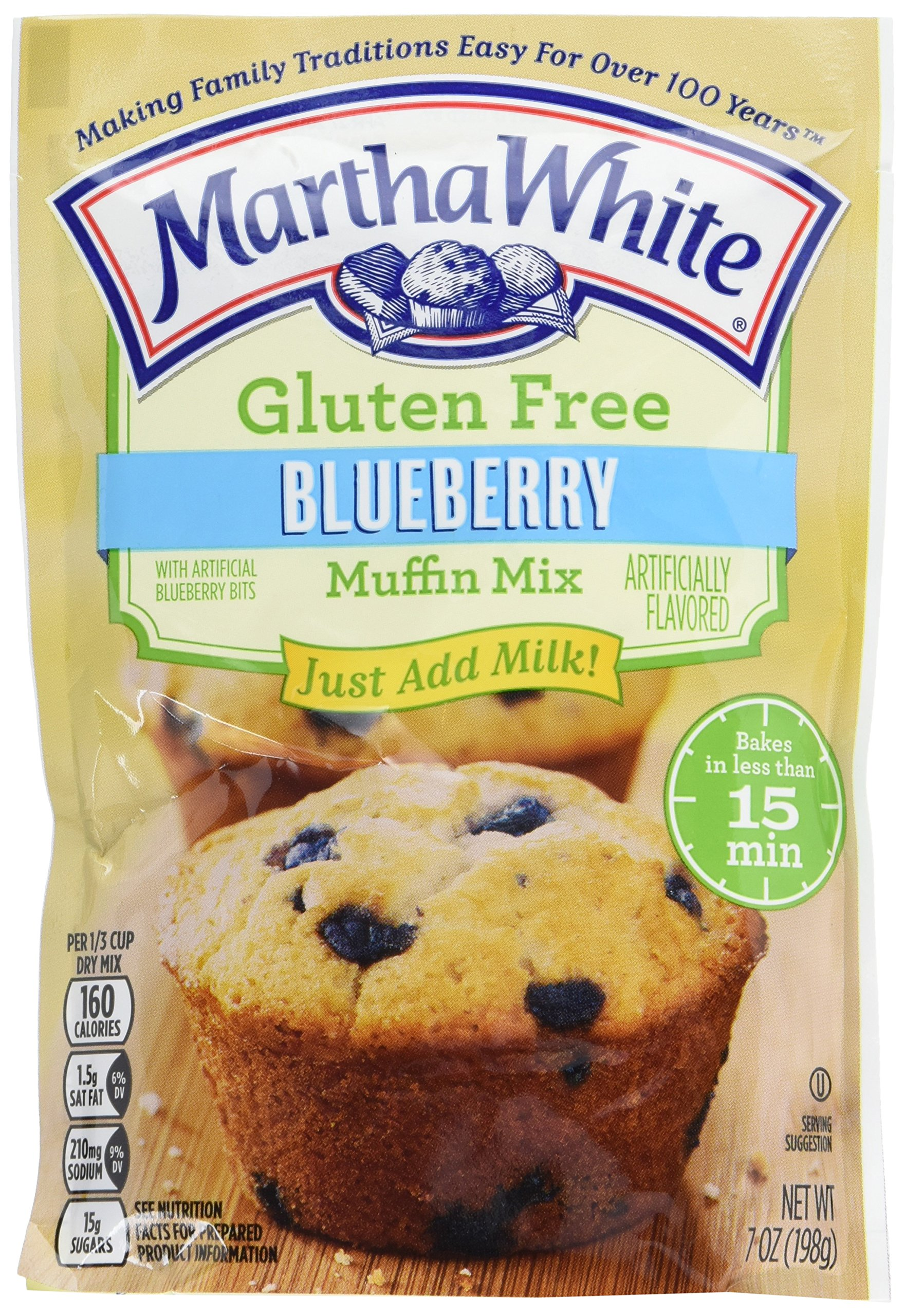 Martha White Gluten Free Muffin Mix With Artificial Blueberry Bits, 7 Oz (Pack Of 12) by Martha White