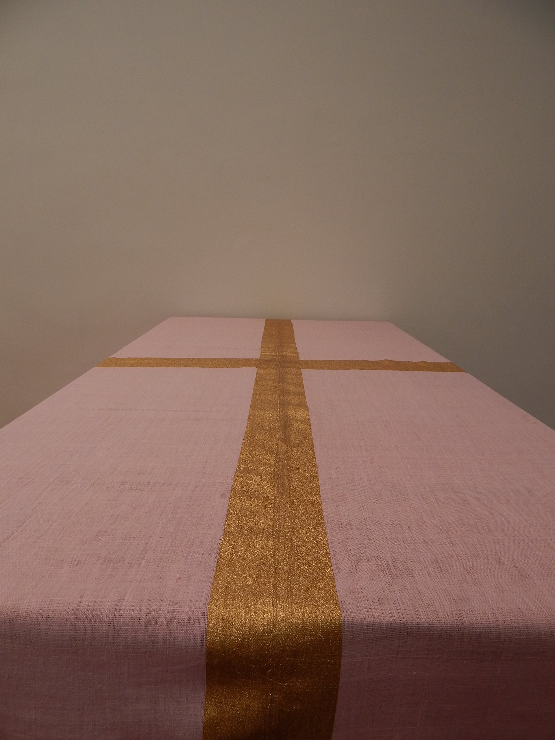 Gitika Goyal Home Cotton Khadi Gold Screen Printed Tablecloth with Border Design, Pink, 72'' x 72''