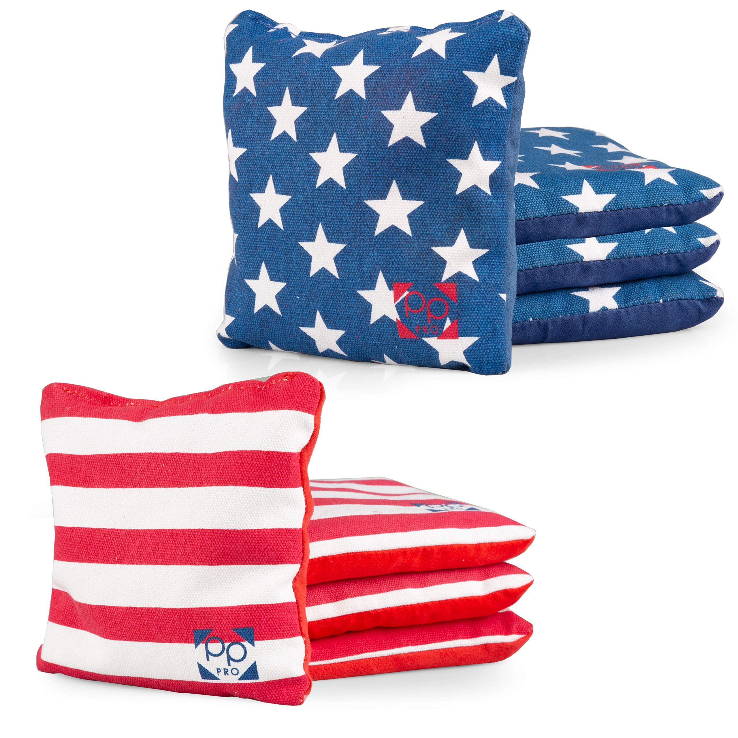 Professional Cornhole Bags - Set of 8 Regulation All Weather Two Sided American Flag Bean Bags for Pro Corn Hole Game - 4 Stars & 4 Stripes by Play Platoon