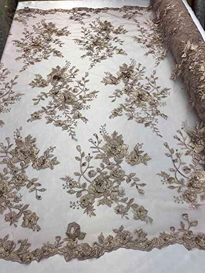 Amazon Com 3d Floral Pearl Beaded Embroidery Lace Fabric Blush