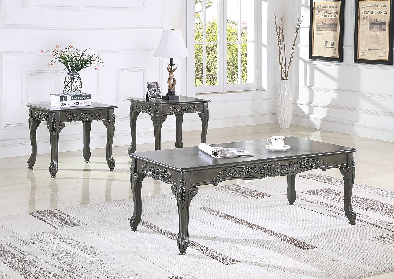 Amazon Com Roundhill Furniture 3 Piece Wood Coffee End Table Set Gray Furniture Decor