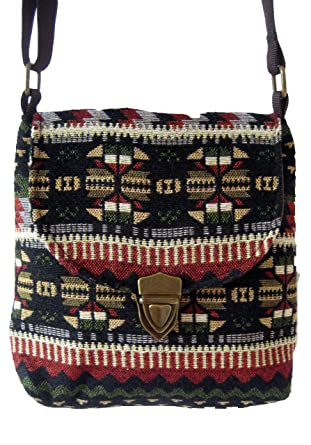Shoulder bag Ethnic design long strap Cotton Thai ladies bag womens (Brown) 3763b4ebd1ac8