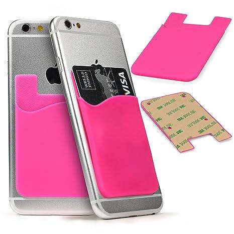 Funda Card Slot , Bolsillo Adhesivo Trasero Universal Smartphone Móvil Porta Tarjetas Externa Documentos Tarjetero en Suave TPU Fucsia