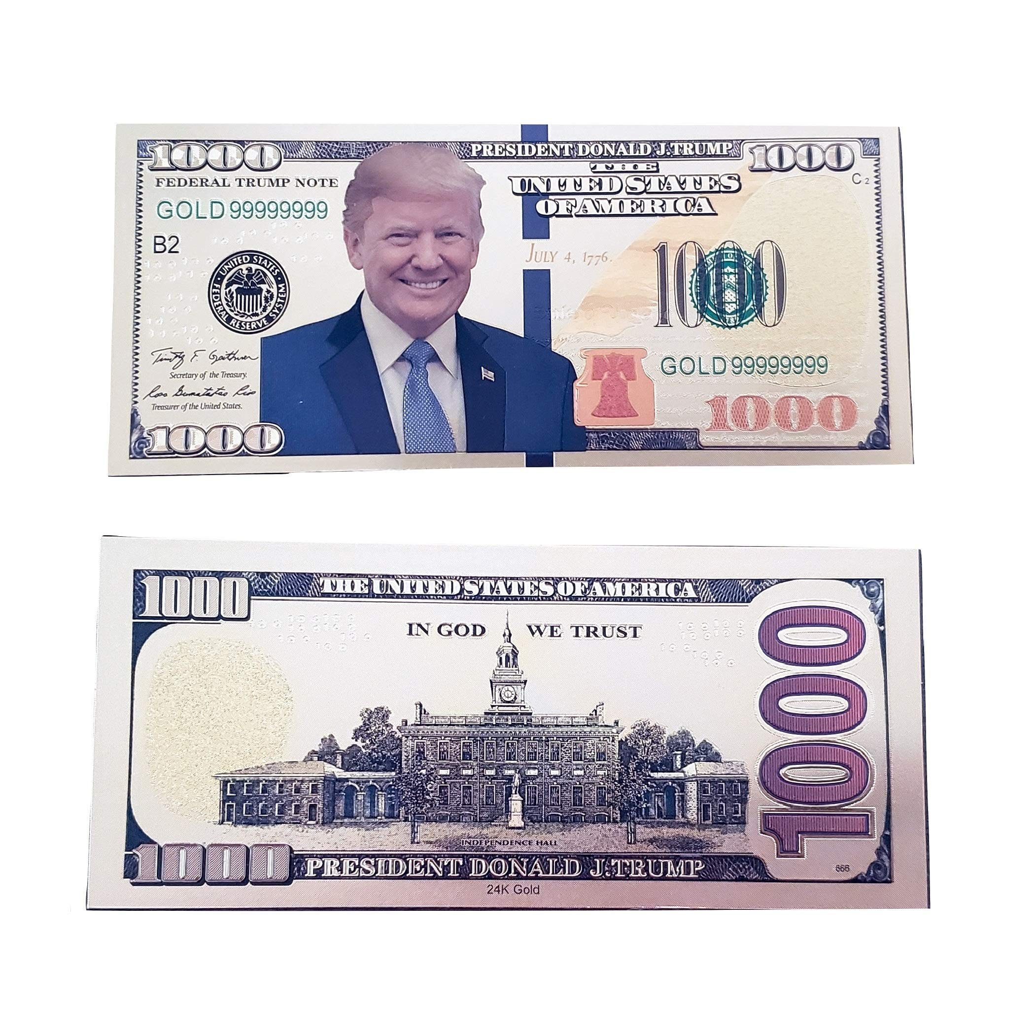 TrendyLuz USA Pack of 10 Donald Trump Smiling Face Gold Color Presidential $1000 Dollar Bills by TrendyLuz USA