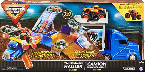 Monster Jam, Official 2-in-1 Transforming Hauler Playset with Exclusive 1:64 Scale El Toro Loco Die-Cast Monster Truck toy for kids in package