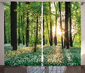 """Ambesonne Forest Curtains, Sunny Forest with Wild Garlic Enchanting Wildflowers Blossoms Landscape Scenery, Living Room Bedroom Window Drapes 2 Panel Set, 108"""" X 84"""", Green Yellow"""