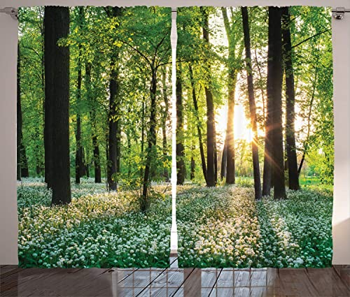 Ambesonne Forest Curtains, Sunny Forest with Wild Garlic Enchanting Wildflowers Blossoms Landscape Scenery, Living Room Bedroom Window Drapes 2 Panel Set, 108 X 90 , White Green