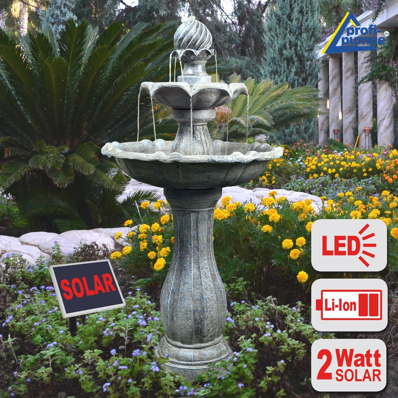Fuente DE Agua Solar - Fuente Solar - Fuente para JARDÍN - Fuente Solar Decorativa - Elegante Fuente para el Jardin para terraza, con batería Li-Ion y luz LED: Amazon.es: Jardín