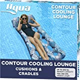 Aqua 18-Pocket Inflatable Contour Lounge, Luxury Fabric, Suntanner Pool Float, Heavy Duty, Blue Ferns