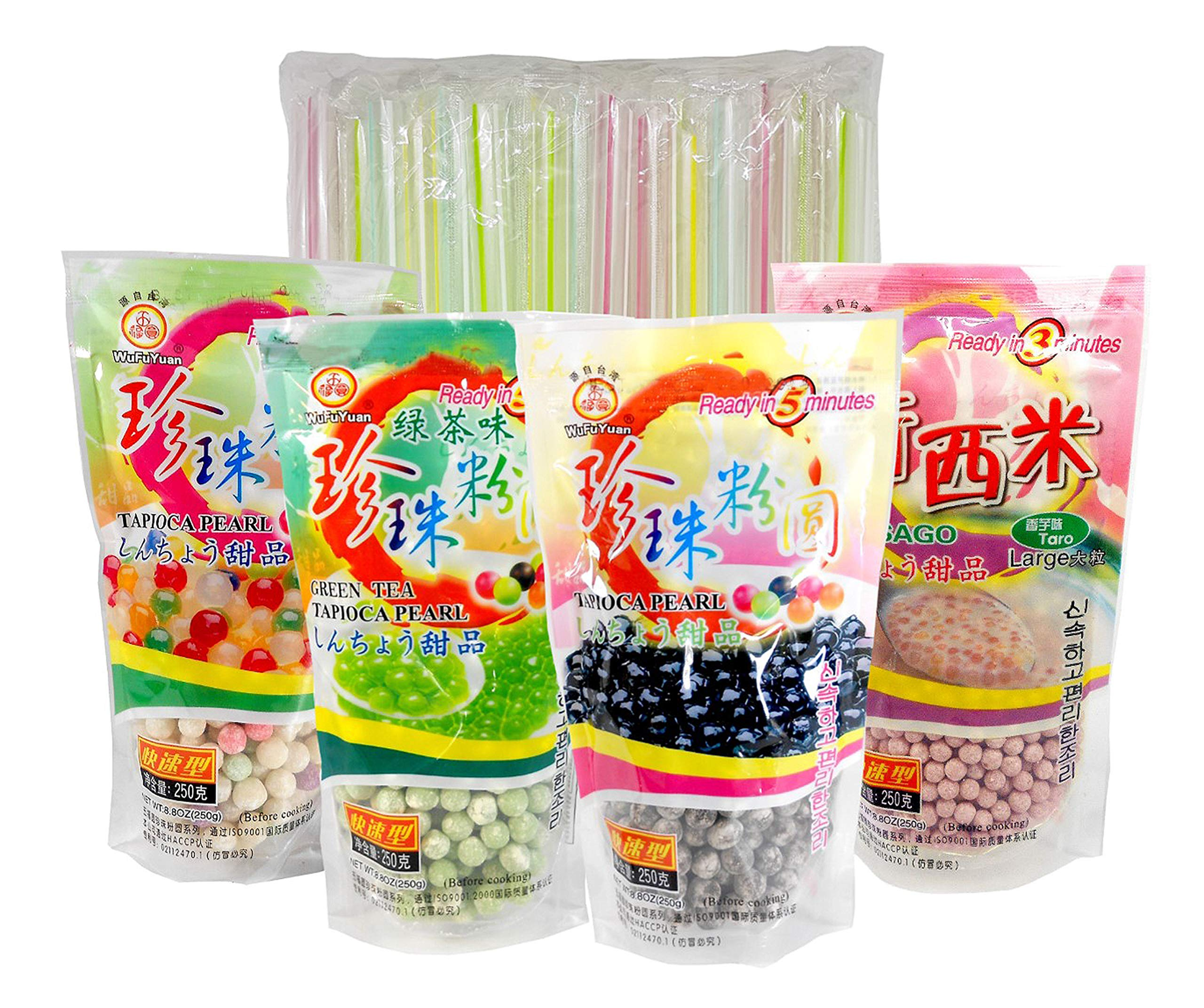 4-Pack Boba Tapioca Pearls 4 Varieties Bundle with 1 Pk of 50 Boba Wide Straws Individually Wrapped Bubble Tea Ingredients by TastyKitchen