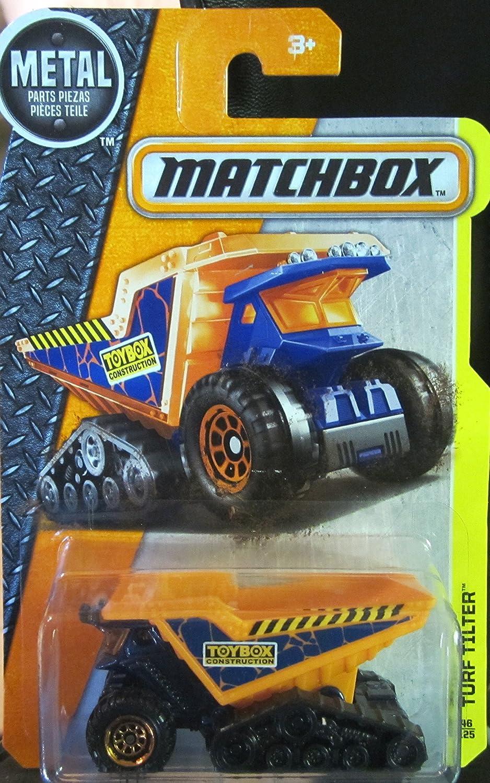 Matchbox 2016 MBX Construction Turf Tilter Blue and Orange Mattel Dump Truck 46//125