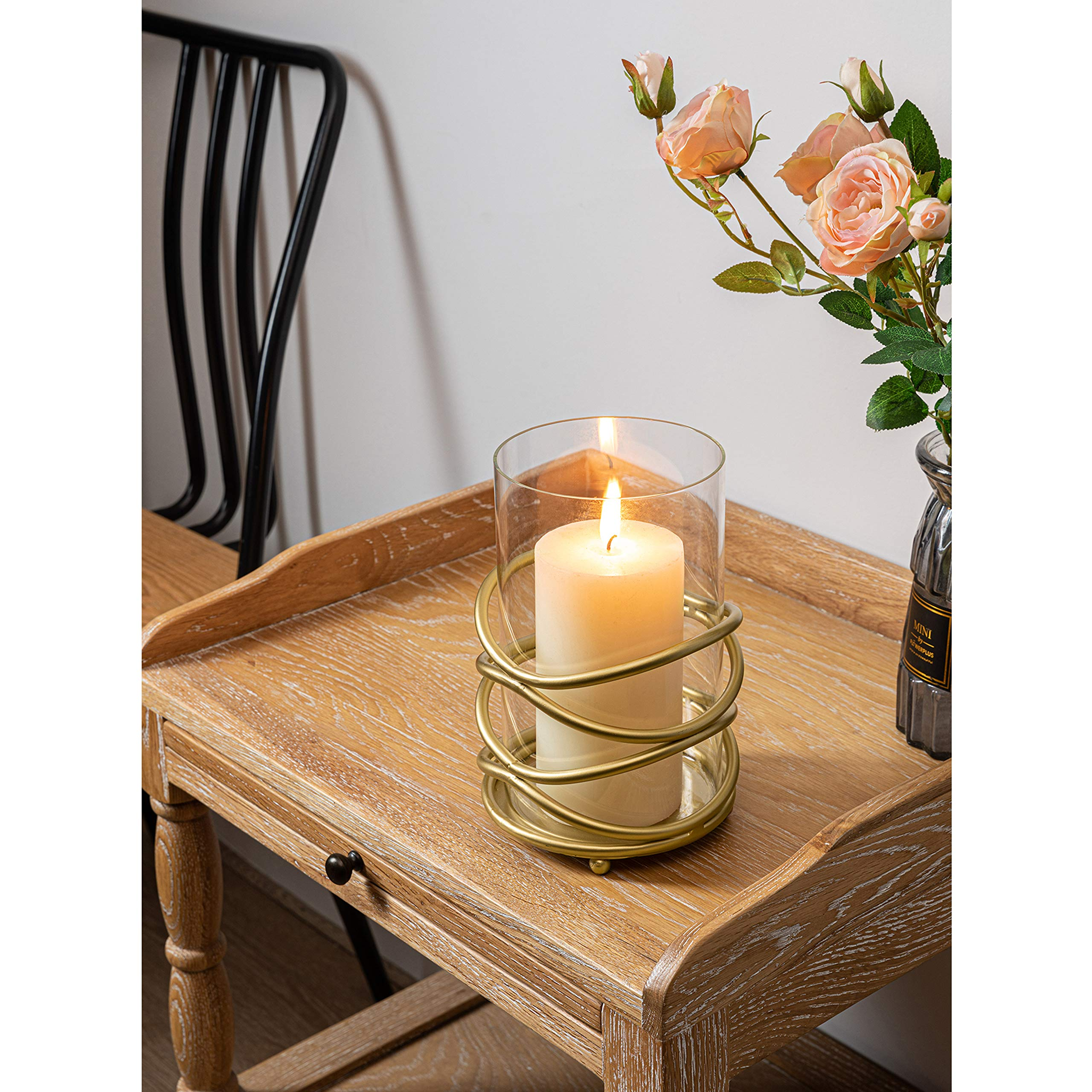 xuanjia Decorative Candle Holder with Removable Glass Hurricane for Wedding Decorations, Parties, or Everyday Home Decor