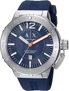 Armani Exchange Mens AX1812 Stainless Steel Blue Silicone Watch