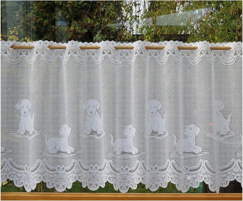 heimtexland Typ670 Rideau Brise-bise Jacquard pour Chien Blanc 52 x 120 cm