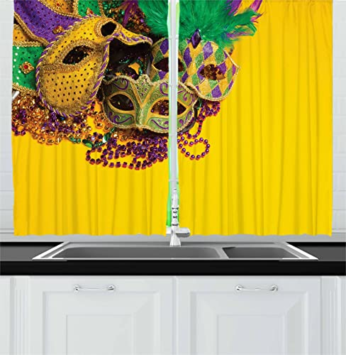 Ambesonne Mardi Gras Kitchen Curtains, Colorful Group of Venetian Carnivals Accessories, Window Drapes 2 Panel Set for Kitchen Cafe Decor, 55 X 39 , Yellow Purple Green