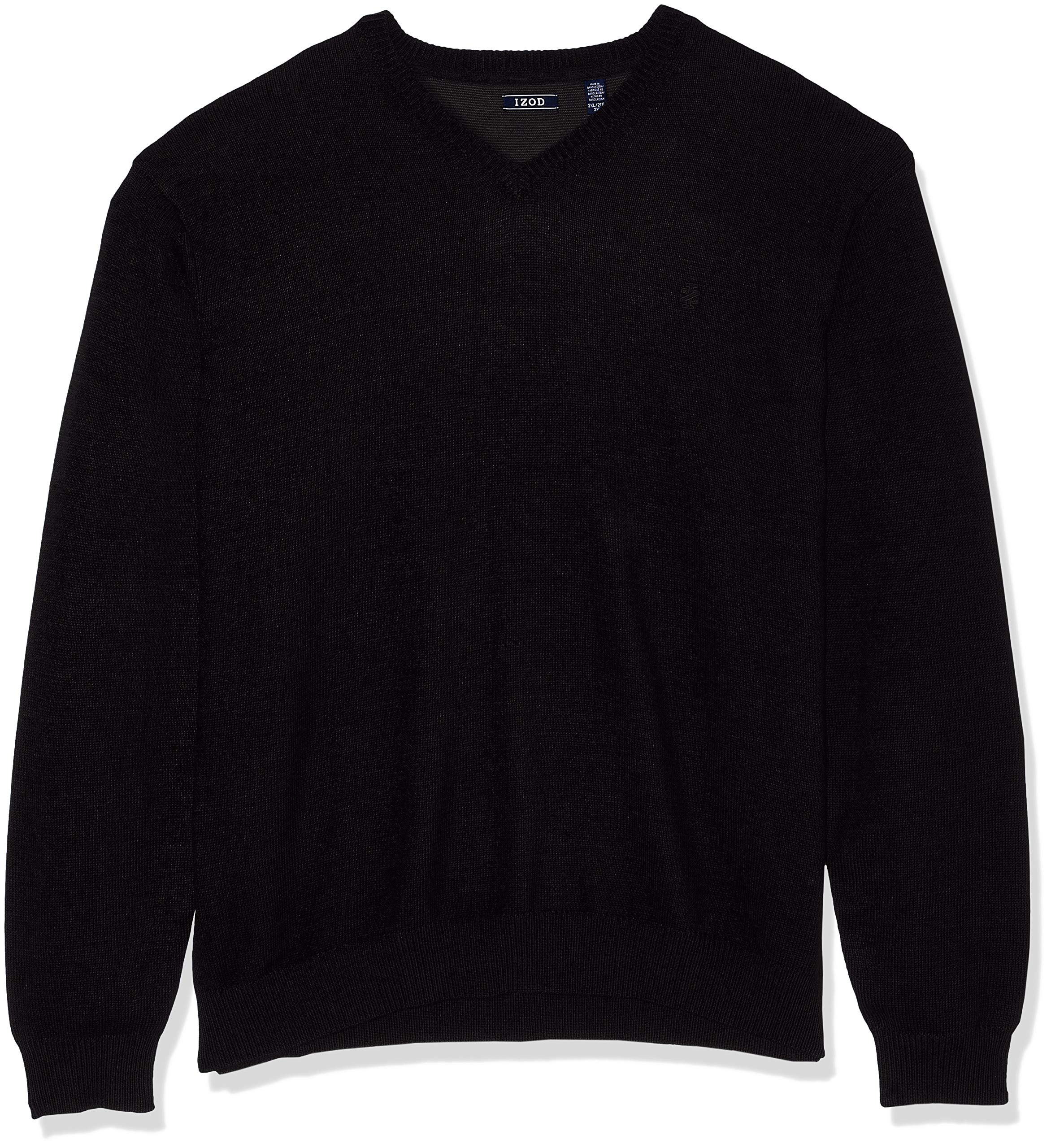 IZOD Men's Big and Tall Fine Gauge Solid V-Neck Sweater, New Black, 2X-Large