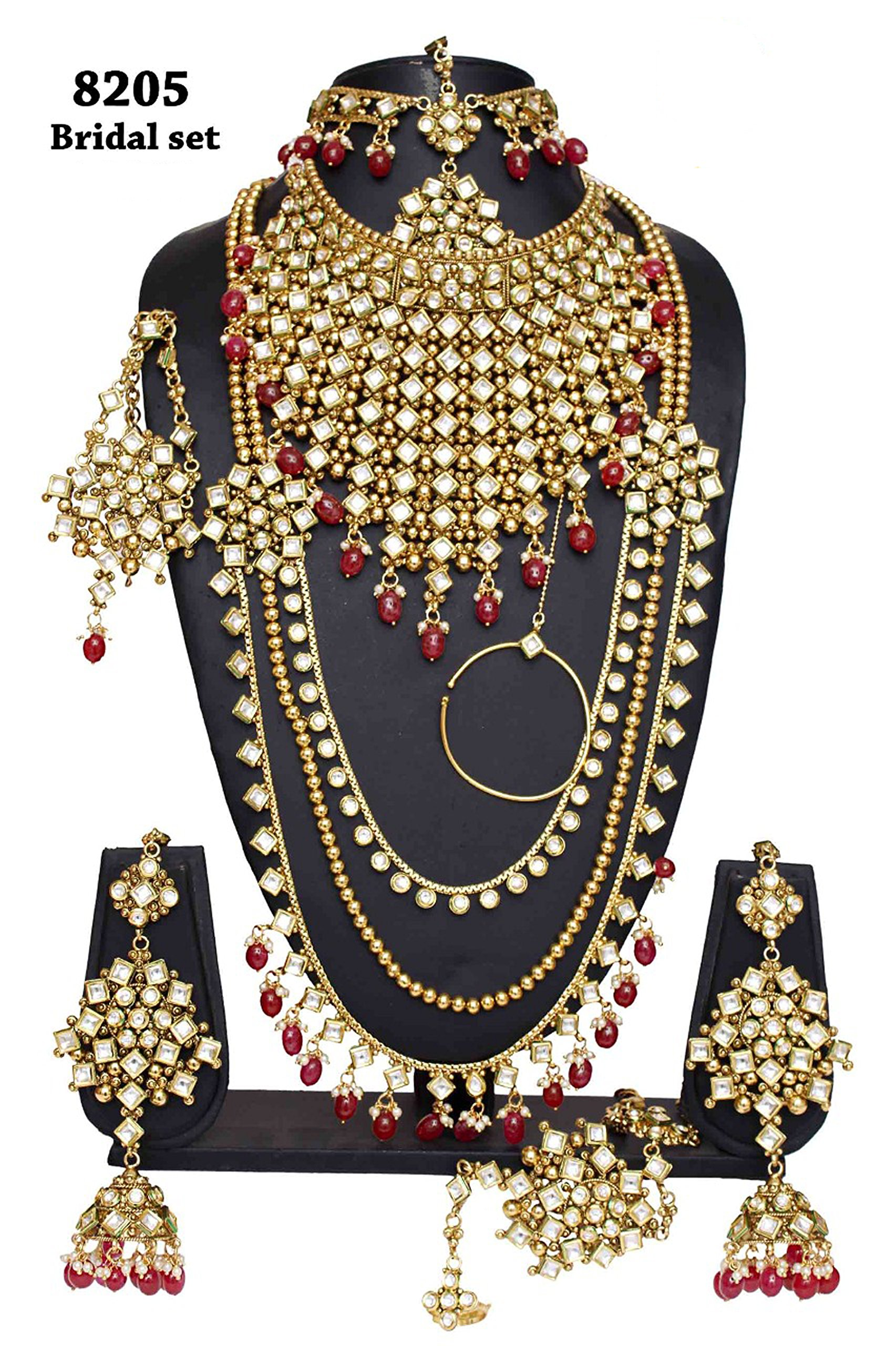 Bollywood Fabulous Style Gold Plated Kundan Stone Indian Necklace Earrings Bridal Set Jewelry
