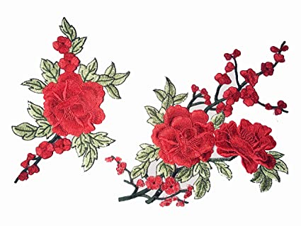 Amazon pcs flowers applique plum plant sew on patches