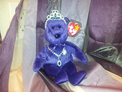 Amazon Com Ty Beanie Baby 1997 Princess Bear Purple W Tag