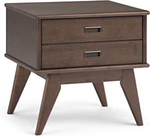 Simpli Home 3AXCDRP-04-WB Draper Solid Hardwood 22 inch wide Mid Century Modern End Side Table in Walnut Brown