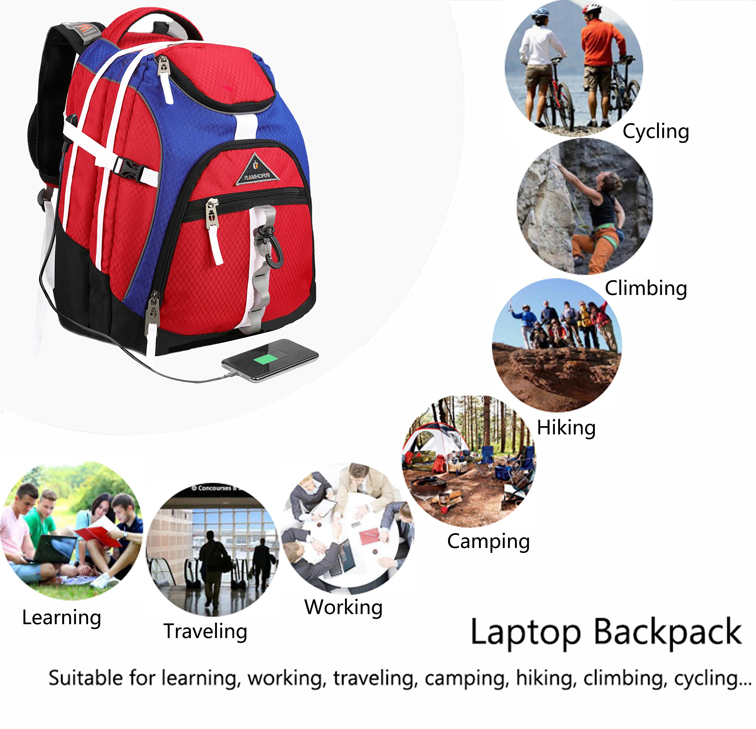 Laptop Backpack 15.6-Inch Business College Travel Computer Bag for Surface Water-Resistant Waterproof USB Charging Port Slim Light Weight Reflective Strip Rain Cover Large Capacity by Ramhorn(warmred) by Ramhorn (Image #9)