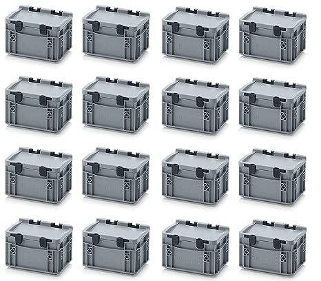 16 x Euro de cajas Euro Box 20 x 15 x 13,5 Tapa con