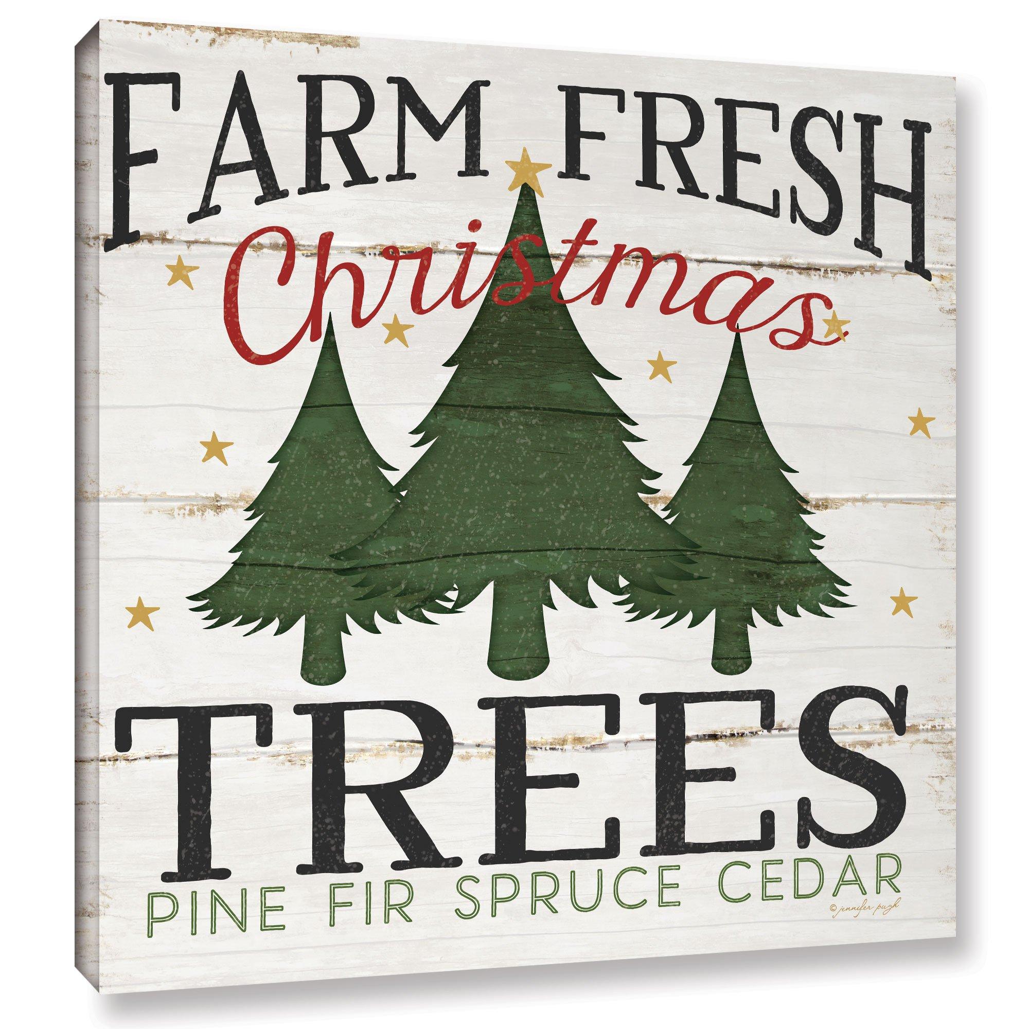 Jennifer Pugh ''Farm Fresh Christmas Trees'' Gallery Wrapped Floater-framed Canvas, 36X36