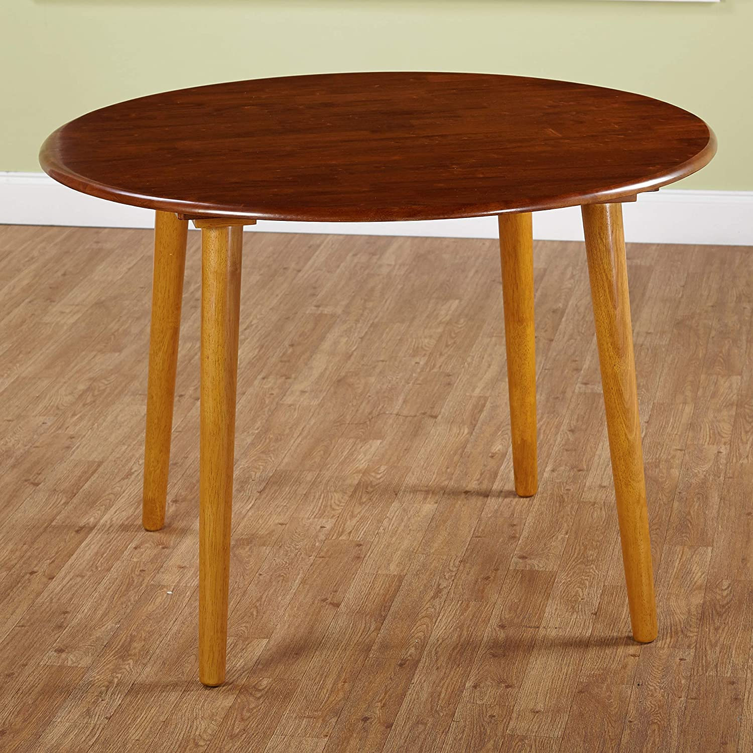 Target Marketing Systems 42-Inch Round Two-Toned Florence Table with Tapered Legs, Medium Oak Light Oak