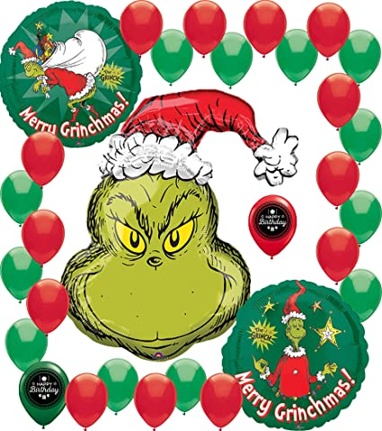 The Grinch Christmas Party.Dr Seuss Cat In The Hat Grinch Christmas Party Balloon Bundle