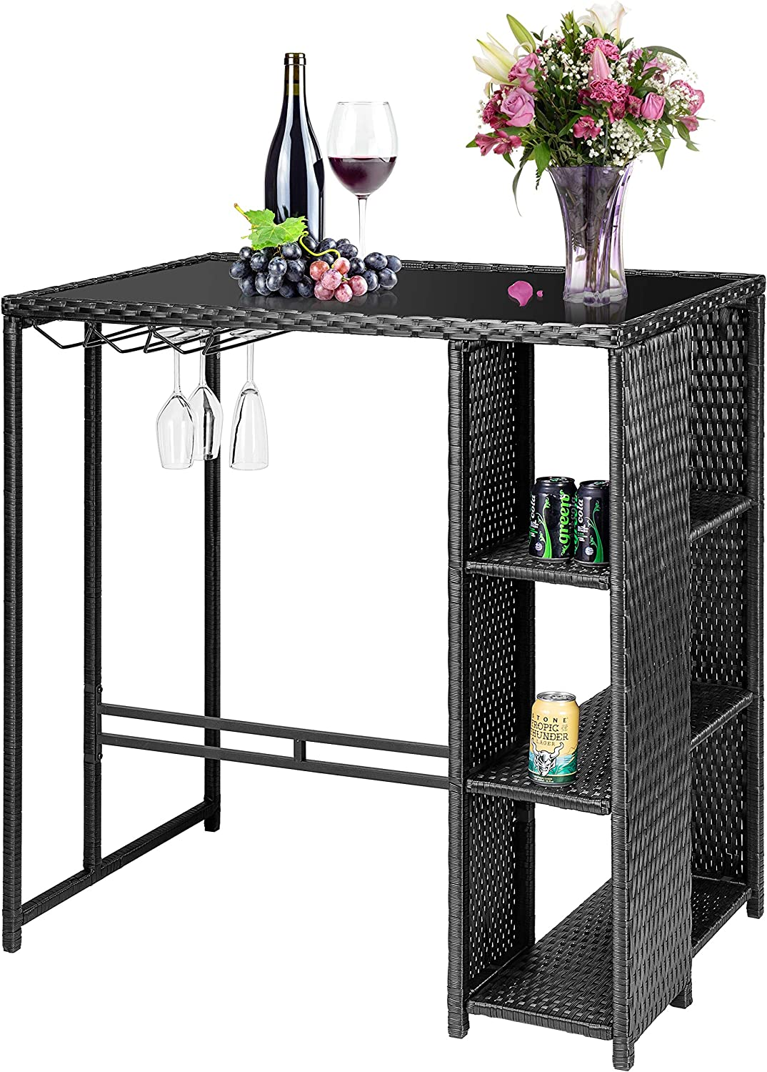VIVOHOME Outdoor Patio Wicker Bar Table Rattan Counter Furniture with 3 Goblet Holders and 3 Storage Shelves for Lawn Garden Backyard Black: Kitchen & Dining
