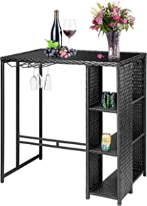 VIVOHOME Outdoor Patio Wicker Bar Table Rattan Counter Furniture with 3 Goblet Holders and 3 Storage Shelves for Lawn Garden Backyard Black