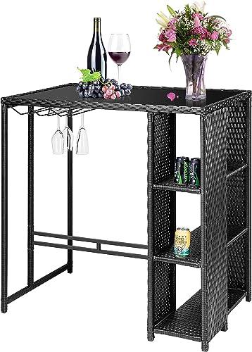 VIVOHOME Outdoor Patio Wicker Bar Table Rattan Counter Furniture