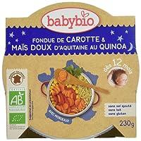 Babybio Assiette Fondue de Carotte/Maïs Doux d'Aquitaine au Quinoa 12+ Mois 230 g - Lot de 5