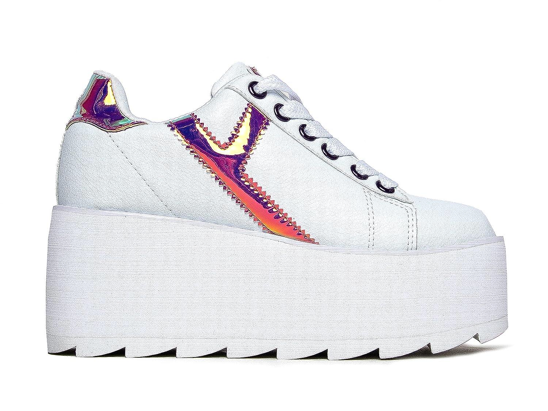 YRU Lala Casual Platform Sneaker - High Rave Flatform Closed Round Toe Creepers B07BFK6XCD 9 M US Pink White Strype