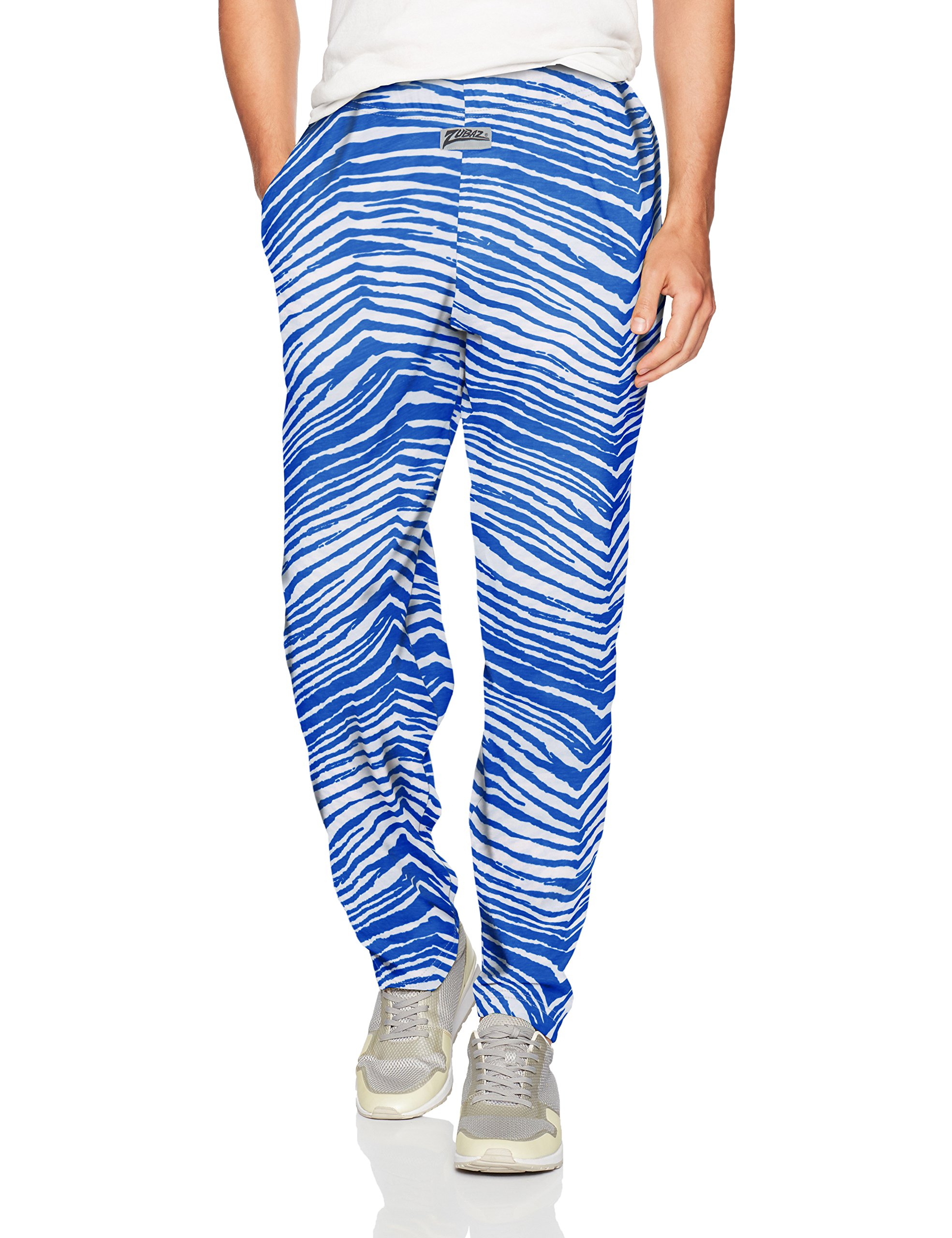 Zubaz Men's Classic Zebra Printed Athletic Lounge Pants, Royal Blue/White, L
