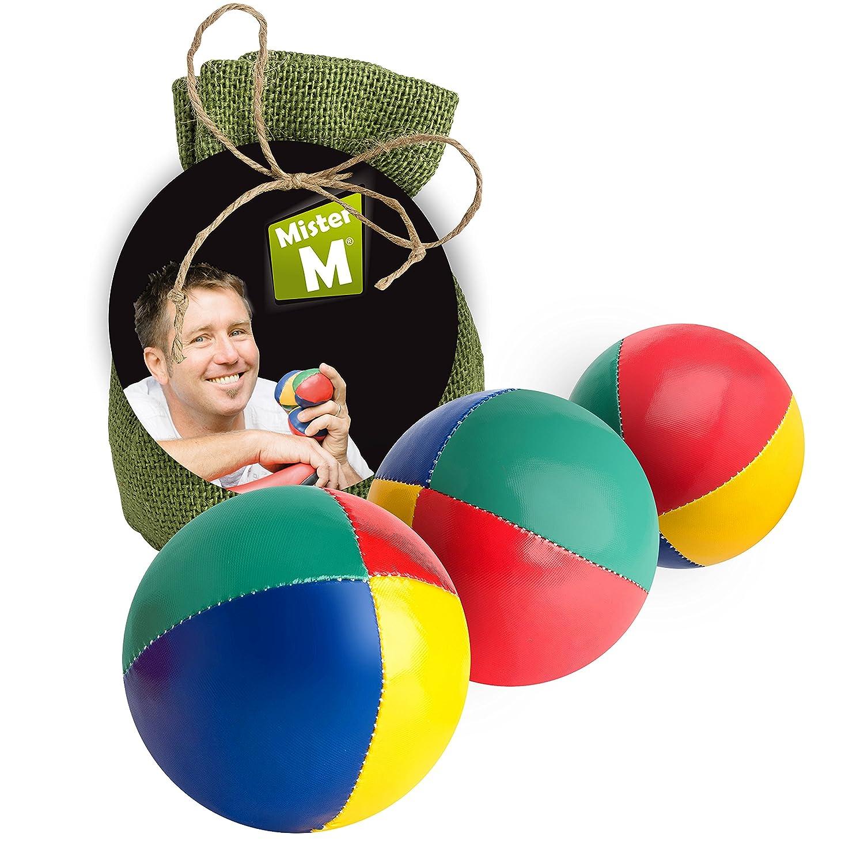 3 Jonglier Bälle, , Das Ultimative 3 Ball Jonglier Set mit Gratis online Lern Video im grünen Jute Sack - von MisterM 3 Jonglier Bälle Mister M MHP-21