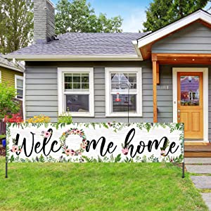 Large Welcome Home Banner Flower Cluster Welcome Banner Decoration Spring Summer Floral Welcome Home Garland Hanging Backdrop Sign Photo Booth Background for Home Party Decor