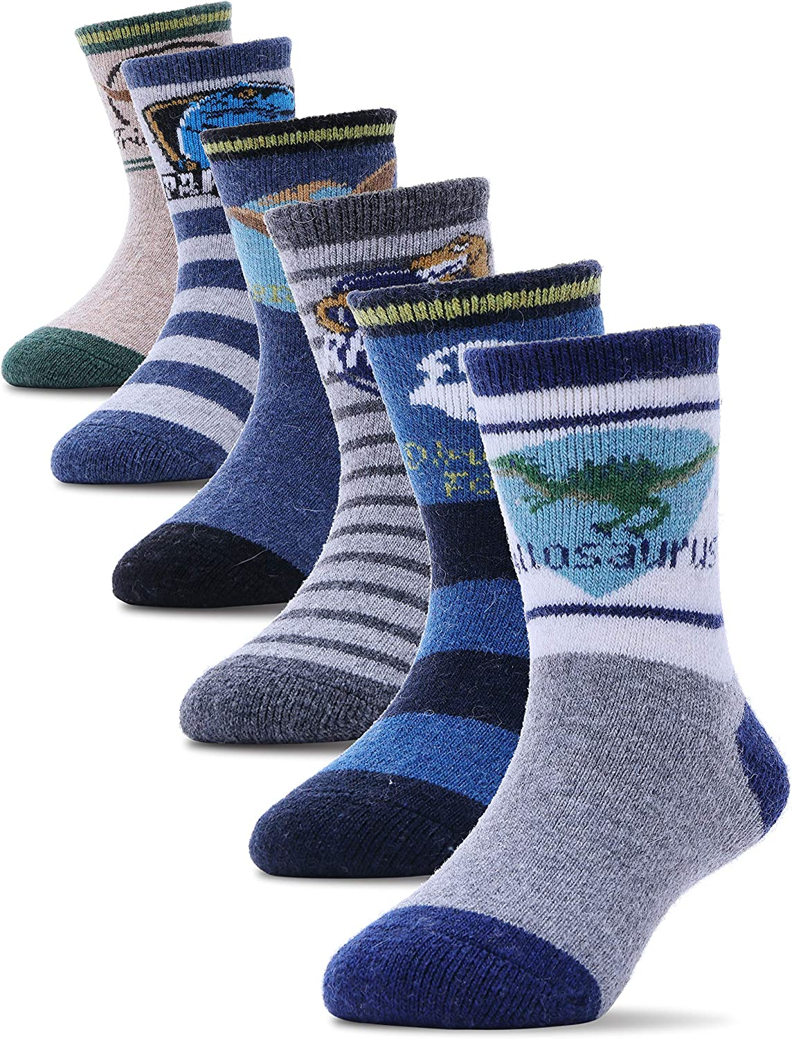 Boys Girls Wool Socks Warm Thermal Thick Cotton Winter Crew Socks For Child Kid Toddlers 6 Pack