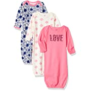 Touched by Nature Baby Organic Cotton Gowns, Love 3-Pack, 0-6 Months