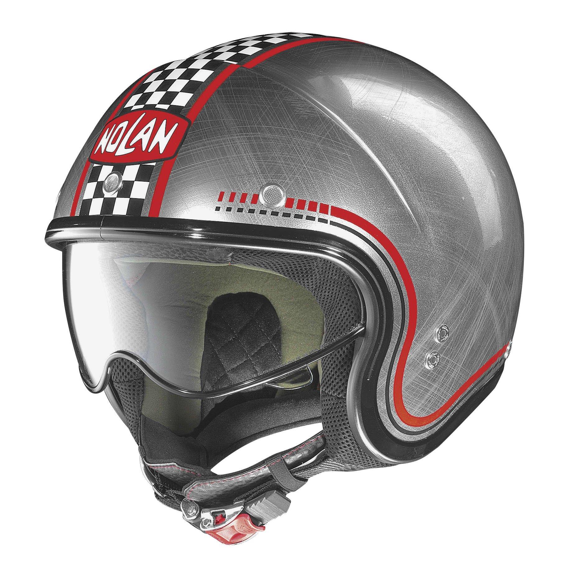 Nolan N21 Lario Scratched Chrome Checker Open Face Helmet, M by Nolan