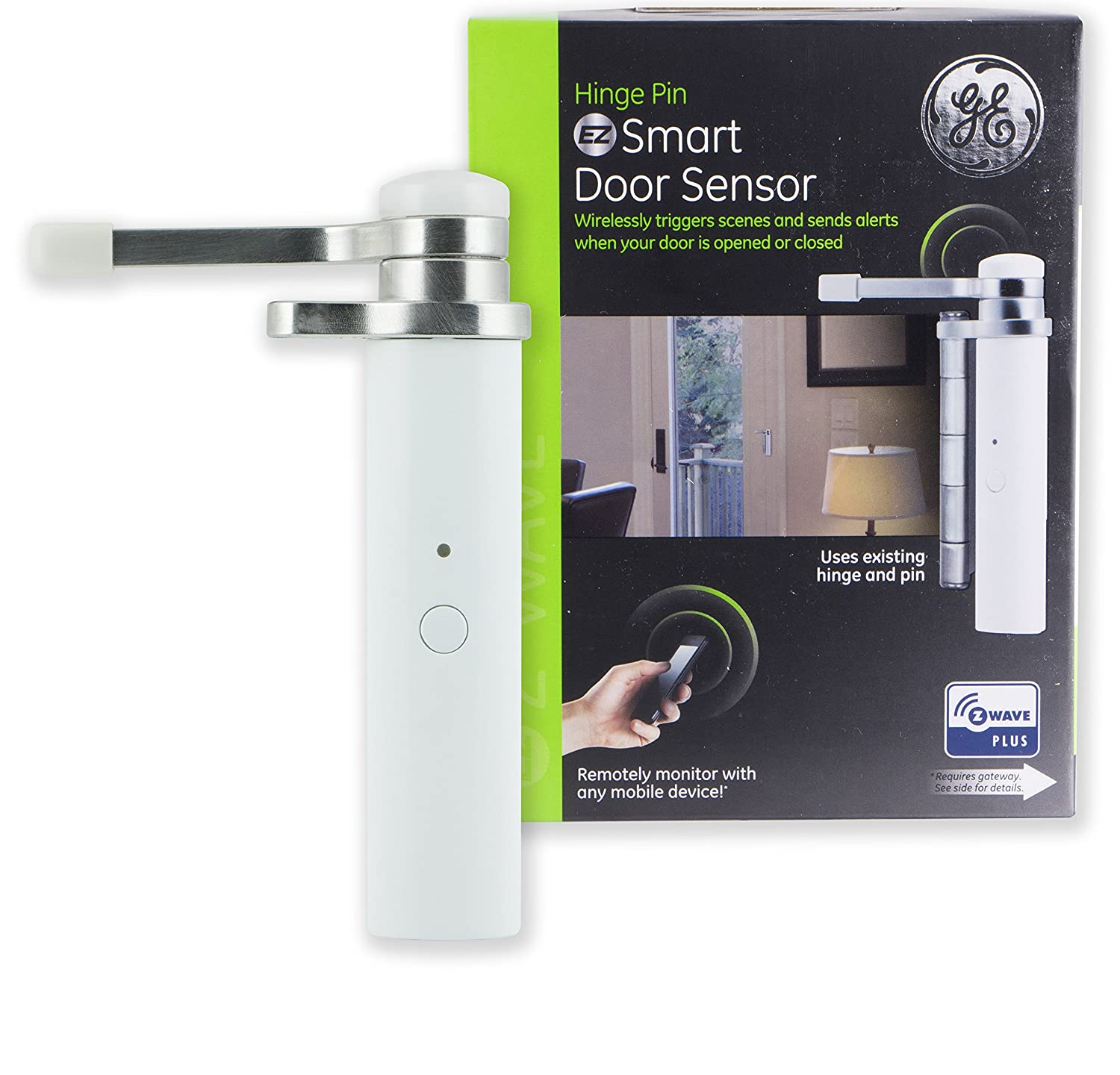 GE Enbrighten Z-Wave Plus Smart Pin Sensor, Attaches to Existing Door Hinge, Left or Right Opening, Repeater/Range Extender, Works with SmartThings, Wink, Iris, 32563, White