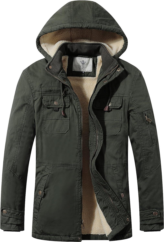 WenVen Men's Cotton Winter Parka Jacket Casual Warm Coat with Removable Hood