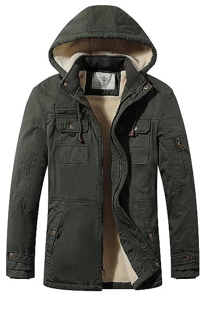 86770edd8 WenVen Men's Cotton Heavy Sherpa Lined Hooded Parka Jacket