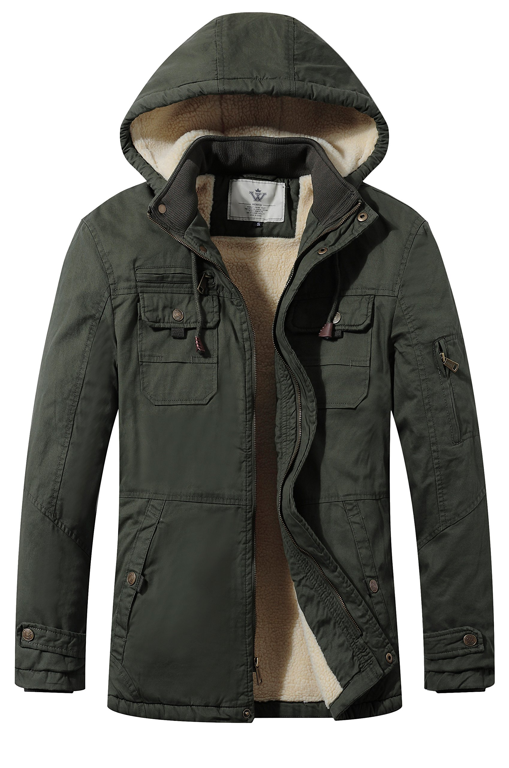 WenVen Men's Lightweight Washed Cotton Hooded Jacket(Army Green,Medium)