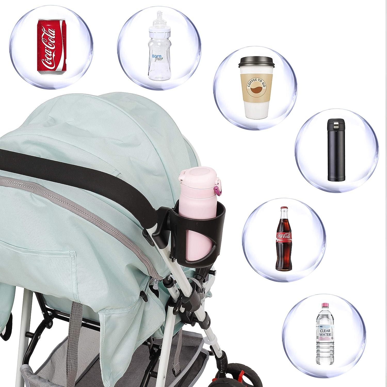 Cochecito Portavasos Universal Portabebidas Organizador de Botellas Ajustable de ABS Portabotellas con Gancho para Sillitas de Beb/é Bicicletas Sillas de Ruedas