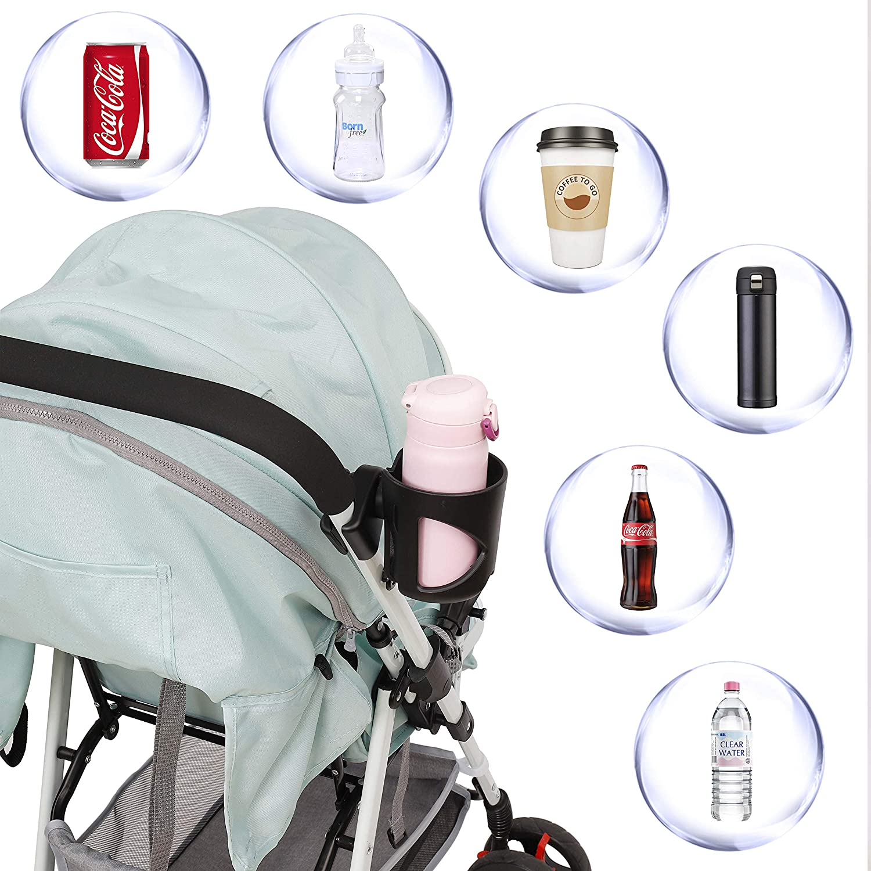 Getr/änkehalter f/ür Kinderwagen Universal Buggy Fahrrad Becherhalter ABS Plastik Drehbarer Babyflasche Flaschenhalter f/ür Trinkflaschen Nuckelflaschen Kaffeehalter mit Haken