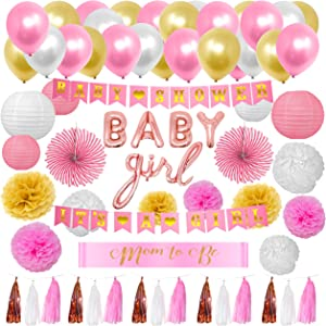 CERIZONA Baby Girl Shower Decorations - 65 Pieces Its a Girl Baby Shower Decorations Set - Complete Baby Shower Backdrop for Girl