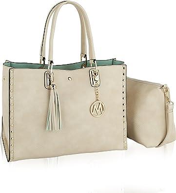 Pouch Handbag Purse Set 2 PC Handbag Set for Women Satchel Tote Adjustable Shoulder Bag Strap PU Leather