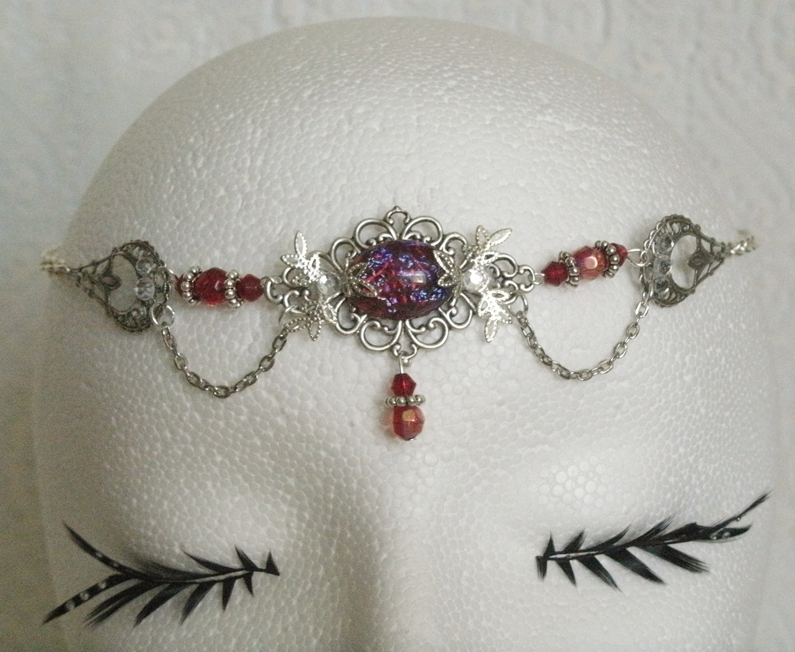Dragons Breath Fire Opal Circlet, handmade jewelry renaissance medieval victorian edwardian art nouveau art deco tudor headpiece